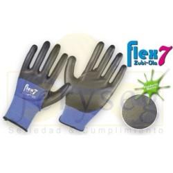 """Guantes Nylon color azul recubiertos en Nitrilo """"Flex7"""""""