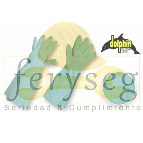 "Guantes Nitrilo Verde con Flock - ""Dolphin 16"""