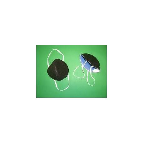 Mascarilla cónica negra doble capa bicolor .